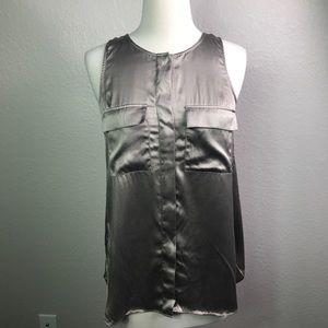Theory Bronze Silk Sleeveless Tank Top Pockets Sm